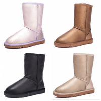 Wool and fur in one 5825 classic knee-high snow boots flat shoes women's thermal metal color
