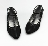 Plus size women's shoes fashion metal rivet pointed toe single shoes ol flat