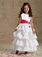 Vintage taffeta floor length red and white flower girl dress