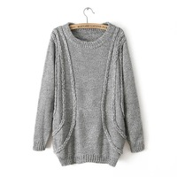 Vintage twisted pullover sweater female loose top long-sleeve female