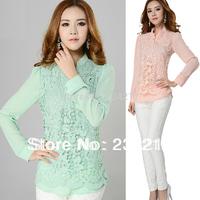 New spring 2014 fashion women's clothing lace chiffon shirt long sleeve shirts of high quality large size ladies' / 3 xl XXXXL