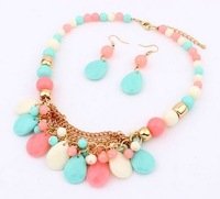 Wholesale 1Set New Design 2013 Fashion Candy Color Exaggeration Multilayer Drop Water Acrylic Bead Earring Necklace JN52
