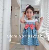 Retail!Girls Baby Kids Toddlers 1PCS Cowboy Blue Polka dot Bowknot Dress Clothes S1-6Y