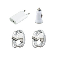 Home EU AC Wall Charger + car charger + 2 X USB cable for iPhone 4 4S ipad 2 3 XC1022