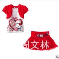 2014 new arrival hello kitty clothing sets flower girl's tshirt + skirts cartoon children's clothing sets fashion princess wear