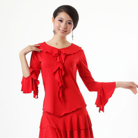Ruffle square dance top square dance clothes ballroom dancing top Latin dance top