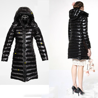 High Quality Brand Name Europe Women Down Jackets Long Hooded Design Goose Down Parkas Coat  9163