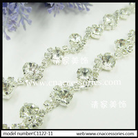 free shipment,crystal wedding dress decorative rhinestone chain,5 yards/lot,clear fancy gemstone trim accessories,garment trim