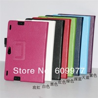 Free Shipping Litchi Grain Folio Smart Leather Case Cover With Pen Slot Stand For Amazon Kindle Fire HDX 8.9''