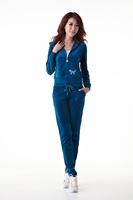 Spring velvet track suit female models casual sweater Korean PINK embroidered velvet hooded hot drilling Slim