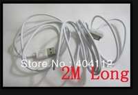 Free fedex shipping!!100pcs 6pins 2M white color usb data Sync Charger Cable For iPhone 4 4s ipad iPod nano touch