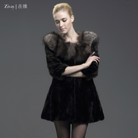 2013 mink hair fox wool luxury female slim fight mink fur coat zw13d066