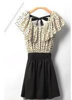 Korean Women Summer New Fashion Chiffon Dress cute Short-sleeves Dots Polka Waist Mini dresses Beige+Black Without Belt
