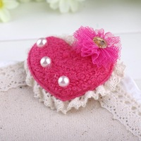 Child hair accessories lace loving heart Imitation pearl bowknot side-knotted clip hair accessory clip wholesale