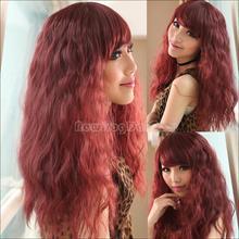 Realista Vino Tinto Oblicua Flequillo peluca larga de maíz Perm Fluffy peluca de pelo rizado NI5L(China (Mainland))