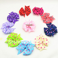 Trail order Free Shipping 10 colors polka dots grosgrain ribbon bows clip Baby Boutique bows hairpin hair accessories 80pcs/lot