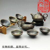 8pcs Chinese ceramic tea set from DEHUA town, 2014 exquisite workmanship ceramic tea wares with Gilt processing