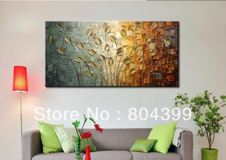 Hand painted palette knife painting golden flower wall art for Wall art for sale