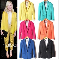 ZA 2014 Free Shipping Womens Tunic Foldable Sleeve Blazer Jacket Candy Color Suit One Button Cardigan Coat XS / S / M / L/ XL