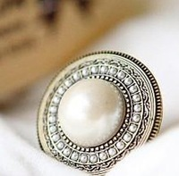 Min. order is $9 (can mix style) Fashion vintage ring bohemia national trend pearl ring finger ring