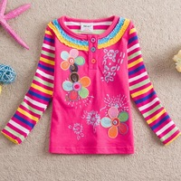 Retail!NEAT 2013 new free shipping t-shirts baby girls floral long sleeve lace embroidery children clothing kids wear 1-6Y L251#