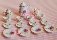 1/12 Scale Lot of 15 England Rose Porcelain Dollhouse Miniature Coffee Tea Cup Set Furniture