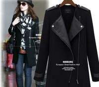 Korean version Women's PU splicing Zipper jacket Outerwear Ladies clothes CL_68