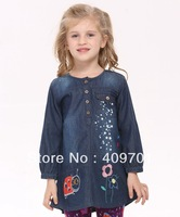 Free Shipping 18m-6y 5pcs/lot 2013 new baby girls lovely cotton dress hot sale casual dresses with print and embroidery H4070#