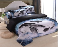 New arrivals Designer White car blue print 3d cotton comforter set bedding set sheets quilt duvet cover bed set bed linen sets