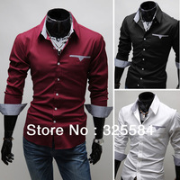 New Fashion Cotton Designer Mens Luxury Long Sleeve Casual Slim Fit Stylish Dress Shirts 3-Color Tops Western Casual XS S M L XL