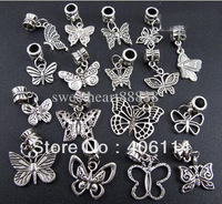 100pcs Mixed Antique Silver Cute Butterfly Charms Dangle Beads Fit European Bracelets DIY