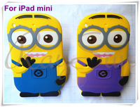 Hot 2013 New 3D Despicable Me Minion Soft Silicone Back Cover Case for iPad mini Free Shipping