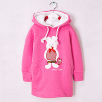 Children's clothing child autumn and winter thickening with a hood sweatshirt pink cartoon rabbit outerwear casual top