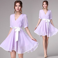 2013 summer japanese style lavender purple white belt chiffon fashion elegant expansion bottom one-piece dress