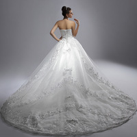 Train wedding dress 2013 tube top diamond luxurious train wedding dress formal dress quality lace wedding dress