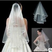 2014 In Stock  White 1.5M Veils Tulle Pearl Ribbon Edge Comb Wedding Veil Bridal Accessory wholesale , free shipping QD5