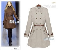 free shipping Women's wool coat fashion double breasted overcoat winter jacket wt1718