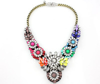 Free Shipping Multi Heavy Statement Necklace Women,Crystal Wedding Party Vintage Chain Fashion Bib Pendant Necklace Choker