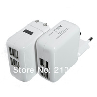 Freeship 1pcs 4 USB Ports US/EU Plug Home Travel Wall AC Power Charger Adapter For Samsung  S4 S3 iphone 4S 5 ipad 2/3 Mini