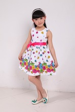 Retail 2013 summer children kids clothing girls rose flower dress girls tutu dress cotton dress princess dress for 3-9 years(China (Mainland))