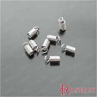(20564)Leather Cord End Cap Stopper Metal Jewelry Fasteners Clasps 6*3MM Imitation Rhodium Iron Spring Clasps 200PCS