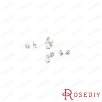 (10056)Jewelry Findings Crimp Clips Fasteners Clasps 2*2MM Silver Copper Metal Crimp End Tube Beads 5g,about 400PCS