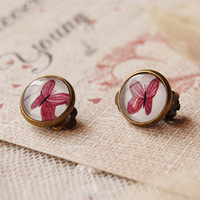 Bohemian Purple Butterly Clip Earrings Without Piercing Vintage Bronzed Earrings rj07