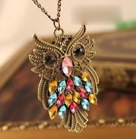 Fedex Free Shipping fashion vintage personalized rhinestone owl necklace long necklace