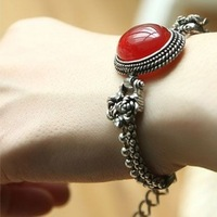 Vintage fashion personality elegant brief royal ruby bracelet classical exquisite gift