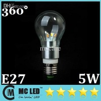 Wholesale - New Arrival E27 5W Led Spot Bulbs Light With Glass Transmittance 360 Angle Warm/Cool White Led Lamps 110-240V