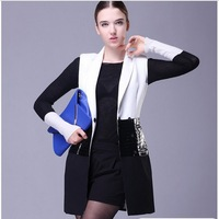 2013 Autumn Women'S Brief Patchwork Black And White Color Block Sleeveless Leather Coat Outerwear Overcoat Plus Big Size