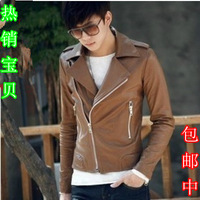 Hot-selling 2013 autumn and winter slim oblique zipper quality leather clothing motorcycle leather coat leather jacket male