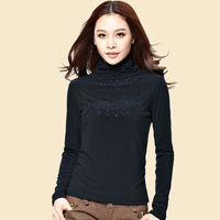 2013 plus velvet thickening basic shirt turtleneck long-sleeve lace basic shirt female