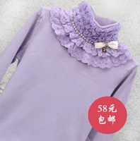 Autumn and winter solid color sweater princess lace decoration bow beading turtleneck long-sleeve knitted basic shirt female